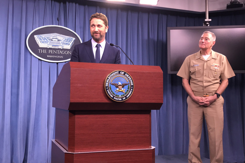 The Pentagon press briefing studio was filled to capacity as Butler — who plays the commander of the fictional attack sub USS Arkansas in the movie — answered questions about the experience.