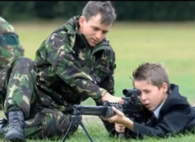 recruiter trains youth on military rifle