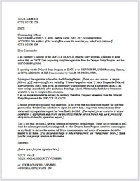 """""""Getting Out of the Delayed Entry/Future Soldier Program"""" Separation Letter"""